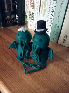 cthulhu bride and groom cake toppers