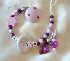 Schnullerkette mit Wunschnamen von Calimera-Kids - Schnullerketten auf DaWanda.com