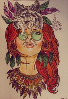 Hippie girl tattoo design. #hippiegirl #tattoodesign | CANNABIS ART | Pinterest