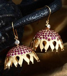 Ruby studded decorative jhumki - Ruby studded gold jhumki handcrafted with a diamond accent. India Jewelry, Jewelry Gifts, Gold Jewelry, Jewelery, Handmade Jewelry, Temple Jewellery, Indian Earrings, Ruby Earrings, Traditional Indian Jewellery