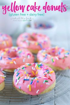 Dairy Free and Gluten Free Yellow Cake Donuts are an allergy-friendly re-makeof the classic coffee shop staple. They're a fun and festive way to make any day special - what's not to love about pink frosting and sprinkles?! From @whattheforkblog | http://whattheforkfoodblog.com | #ad by #NewEnglandCoffee #YouAreExtraordinary