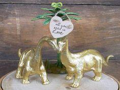Dinosaur Wedding Cake Topper GOLD Dinosaurs by MrandMrsCakeToppers Geek Wedding, Wedding Ideas, Mod Wedding, Wedding Details, Wedding Decor, Dinosaur Cake Toppers, Dino Cake, Country Wedding Cake Toppers, Whimsical Wedding Cakes