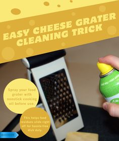 End the grater-cleaning struggle. Use this trick and the food won't stick. #SaveMoney #DIYHome #HouseholdTips #ObviouslyClever #FoodGraterCleaning