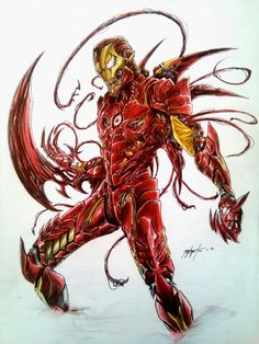 Ironman X Carnage. What do you think guys? Marvel E Dc, Marvel Venom, Marvel Villains, Marvel Comics Art, Marvel Comic Universe, Comics Universe, Marvel Characters, Marvel Heroes, Marvel Wolverine
