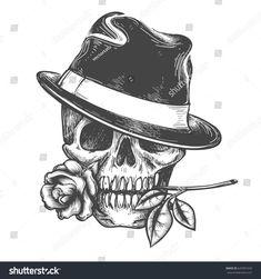 Descubra Skull in hat with rose flower in the mouth vector illustration Vector hand drawn human skulls tatoo isolated on white background vectores de stock y millones de otras fotos ilustraciones y vectores de stock libres de regal as en la colecci n de Cool Skull Drawings, Skull Artwork, Art Drawings Sketches, Tattoo Sketches, Tattoo Drawings, Skull Tattoo Design, Skull Tattoos, Rose Tattoos, Tattoo Designs