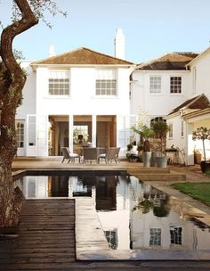 white houses, country houses, pool, english country, patio, backyard, dream houses, outdoor spaces, traditional homes