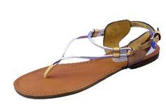 COACH Coco Florescent Silver/Light Tan Thong Ankle Strap/Sandal New Shoe