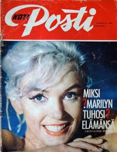 Marilyn Monroe on the cover of Koti Posti magazine, August 1962, Finland. Cover photo of Marilyn on the set of Something's Got To Give, 1962.