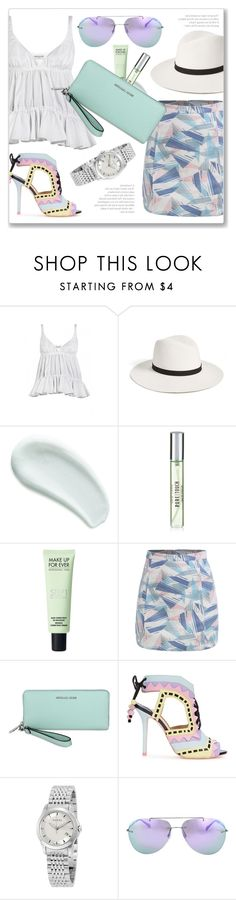 """Fresh Summer Look"" by jomashop ❤ liked on Polyvore featuring Balenciaga, Janessa Leone, Omorovicza, New Look, Sophia Webster, Gucci, Prada, Summer, white and purple"