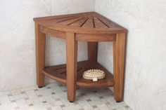 "Floor Sample 15.5"" Kai Teak Shower Bench with Shelf"