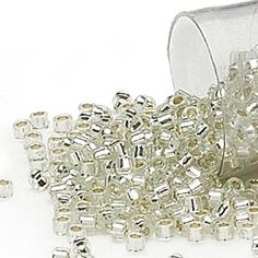Seed bead, Delica®, glass, silver-lined clear, (DB1431),