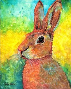 Rabbit, Bunny, Hare, Kids, Nursery, Toddler, Baby - Ready to Hang - Original Watercolor Painting by ebsq Artist Ricky Martin  FREE SHIPPING