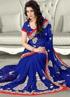 Blue Embroidery Work Mirror Work Chiffon Fancy Designer Wedding Sarees http://www.angelnx.com/Sarees/Wedding-Sarees