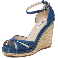 L.K. Bennett Litya Jean Wedge Sandals (£235) ❤ liked on Polyvore featuring shoes, sandals, heels and boots, blue denim, braided wedge sandals, ankle wrap sandals, woven sandals, ankle strap sandals and denim sandals