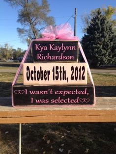 Personalized adoption new baby adoption date family saying wood block set nursery home decor baby shower birthday gift boy girl. $15.95, via Etsy.