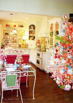 Colorful Christmas kitchen--Love this so much!  Dec 2011 Romanic Homes-Bakerella's friend, cupcake Julie's house--I think this is the kitchen she used to do the cake pop video in??