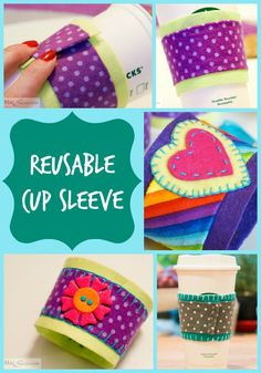 MacSuzie | DIY Reusable Coffee Cup Sleeve - Ditch the cardboard! Instead, wrap your cup with one of these adorable (and easy!) DIY Reusable Coffee Cup Sleeves. #nosew #easy #craft BONUS: Makes a great teacher appreciation or hostess gift!