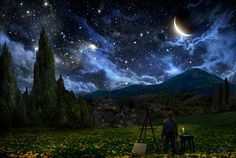 Starry Night by AlexRuizArt.deviantart.com    Inspired by how the night sky looked to Van Gogh when he painted 'Starry Night.'