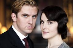 Dan Stevens with Michelle Dockery, who starred as husband and wife in 'Downton Abbey'