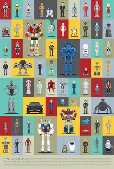 Robot poster by Scott Parks featuring 66 faves. Can you name them all?
