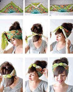 Idée coiffure foulard technique facile à faire soi même pour nouer et attacher son foulard autour de sa tête sur cheveux courts et cheveux longs.