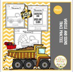 Vehicle and Signs Tracing Practice ~ Preschool Printables Tracing Practice Preschool, Preschool Kindergarten, Construction Theme Preschool, Preschool Printables, Morning Work, Big Trucks, Activities For Kids, Transportation, Vehicle