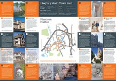 Inside spread of a Denbighshire County Council 'Town Trail' leaflet White Fox, Fox Design, Corporate Identity, Trail, Editorial, Brand Identity