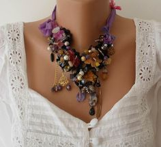 Colorful Necklace - Speacial Handmade Design    Variety of ornaments and pearls, laces, colorful semi-precious stones, silk and crystal beads are
