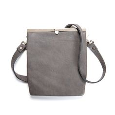 Leather Cross Body Bag Gray Small Leather Bag by MatkaShop on Etsy