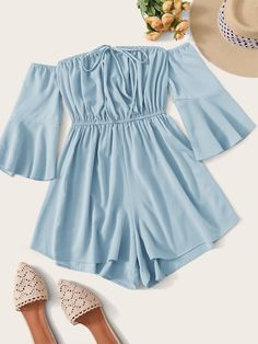 Shop Knot Front Flounce Sleeve Bardot Romper at ROMWE, discover more fashion styles online. Cute Girl Outfits, Cute Summer Outfits, Cute Casual Outfits, Pretty Outfits, Girls Fashion Clothes, Teen Fashion Outfits, Girl Fashion, Tween Fashion, Jugend Mode Outfits