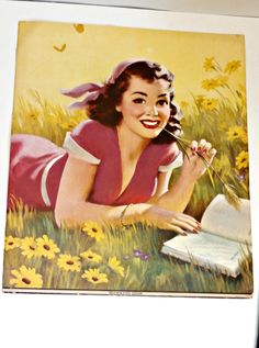 vintage pin up brown eyed susan young woman lithograph 11' x 7' paper ephemera paper crafts, red yellow  retro mcm wall decor scrap book by PlasticPinkFlamingos on Etsy