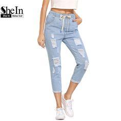 SheIn Vrouwen Zomer Broek Casual Broek Voor Dames Blauw Ripped Mid Taille Trekkoord Skinny Denim Kalf Lengte Jeans