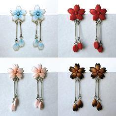 Sakura Blossom Earring 4 Colors by PaleMint on deviantART