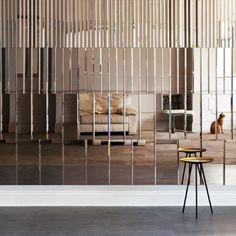 Mirror Panel Wall, Modern Classic Interior, Art Deco Wallpaper, Furniture Handles, Wall Cladding, Closet Designs, Wall Treatments, Interior Design Inspiration, Wall Design