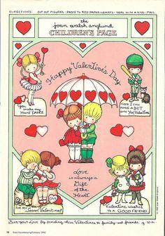 Joan Walsh Anglund Valentine paper doll craft page My Funny Valentine, Vintage Valentines, Valentine Crafts, Happy Valentines Day, Valentine Ideas, Joan Walsh, Illustrations Vintage, Valentine's Cards For Kids, Vintage Paper Dolls