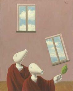 """Les rencontres naturelles 1945 Huile sur toile Signature dans le haut à droite : Magritte ; titre et date au revers sur la toile : """"LES RENCONTRES / NATURELLES"""" / 1945 ; au revers sur le châssis encadreur : Berger ; et étiquette expo. Dimensions : 81 x 65,3 Origine : Legs de Mme Irène Scutenaire-Hamoir, Bruxelles, 1996 Musées royaux des Beaux-Arts de Belgique, Bruxelles"""