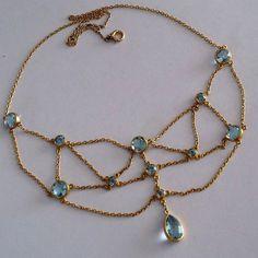 Antique Edwardian Aquamarine 14K Gold Festoon Necklace
