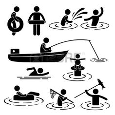 People Children Leisure Swimming Fishing Playing at River Water Stick Figure Pictogram Icon photo