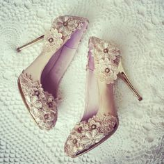 Champagne Vintage Flower Lace Crochet Bridal by BellaBelleShoe, $124.00
