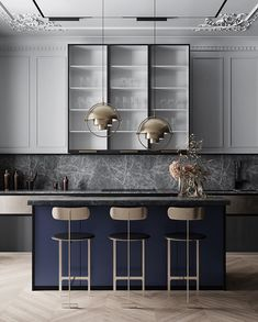 Always loved a navy kitchen! Classic combo made current with the grey marble 👌 Repost from Kitchen design by Quadro Room in Moscow, Russia Quirky Home Decor, Cheap Home Decor, Kitchen Pantry, Kitchen Dining, Navy Kitchen, Neoclassical Interior, Luxury Decor, Küchen Design, Interior Design