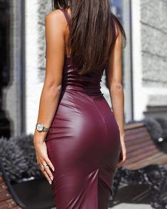 PU Slit Back Spaghetti Strap Bodycon Dress Sexy Outfits, Sexy Dresses, Tight Dresses, Casual Outfits, Prom Dresses, Leather Bodycon Dress, Leather Pencil Skirts, Black Leather Dresses, Trend Fashion