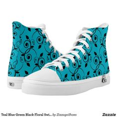 Teal Blue Green Black Floral Swirl Damask Zizzago Printed Shoes
