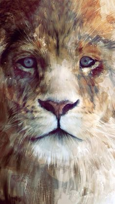 A great painting of a beautiful lion