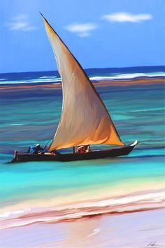 Zanzibar Sailing, in ancient dhows, Tanzania - Places To Travel, Places To See, Travel Things, Africa Travel, Strand, Sailing Ships, Surfing, Scenery, Around The Worlds