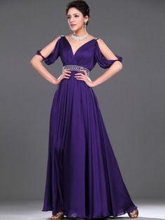 A-line V-neck Ruffles Short Floor-length Chiffon Prom Dress