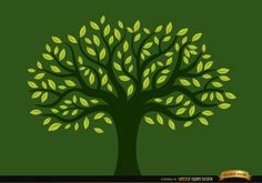 Green tree with yellow leaves Free Vector