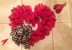 """1 of 4 Valentine's Day wreaths for 2015. This one is titled """"Cupid's Heart!"""" #ValentinesDay #Wreath #Heart #Red #Chevron #Burlap #Grapevine #Cupid  #eBay #etsy Available for purchase on eBay and etsy! Link for eBay: http://pages.ebay.com/link/?nav=item.view&alt=web&id=261750182513 Link for etsy: https://www.etsy.com/listing/220242280/cupids-red-heart-valentines-day-wreath"""