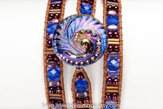 """Leather snap triple wrap bracelet beaded sapphire amethyst purple, for 18mm snaps, like ginger snaps noosa, fits up to 7"""" (17.8cm) wrist"""