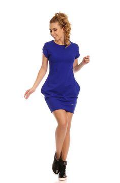 Rochie de culoare albastra, cu buzunare, din bumbac - Rochie tinereasca, din bumbac, de culoare albastra, cu maneca scurta, buzunare laterale si decolteu rotund. Colectia Rochii casual de la  www.rochii-ieftine.net