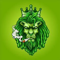 'Neon Lion' by LazyKoala Rasta Art, Weed Tattoo, Lion Images, Stoner Art, Weed Art, Le Roi Lion, Lion Art, Dope Art, Street Art